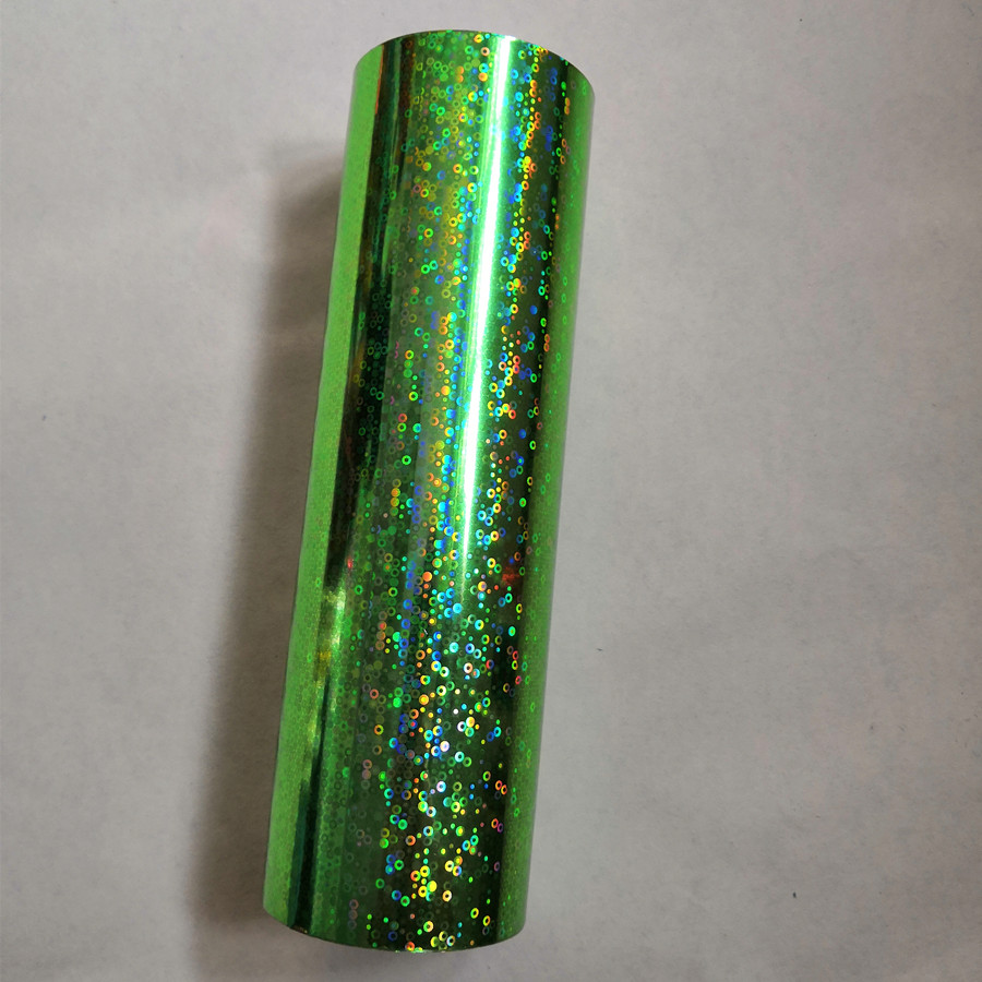 Hot stamping foil green color small circle pattern holographic foil hot press on paper or plastic 21cm x120m heat stamping film