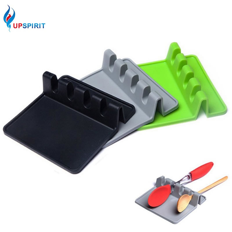 Upspirit Silicone Flatware Rest Stand Spoon Rests Spatula Mat Square Placemat Multi Purpose Kitchen Cooking Utensils Holder 1