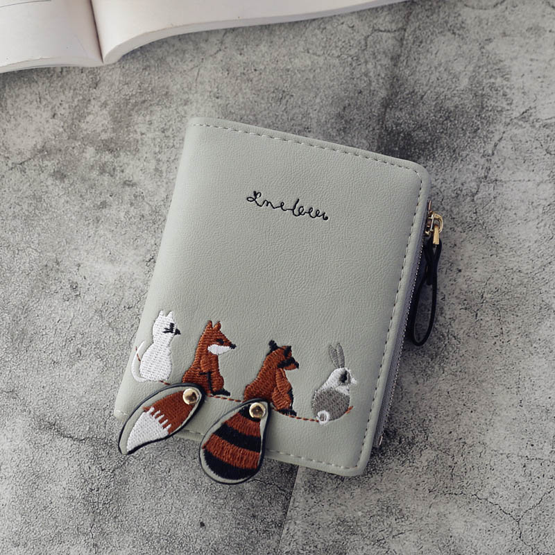 Individuality PU Leather Hasp Zipper Mini Coin Card Holder Women Cute Cartoon Embroidery Wallet Short Purse Popular novelty pokemon silicone coin purse pocket monster anime cartoon pikachu zipper wallet mini round earphone holder kids coin bags