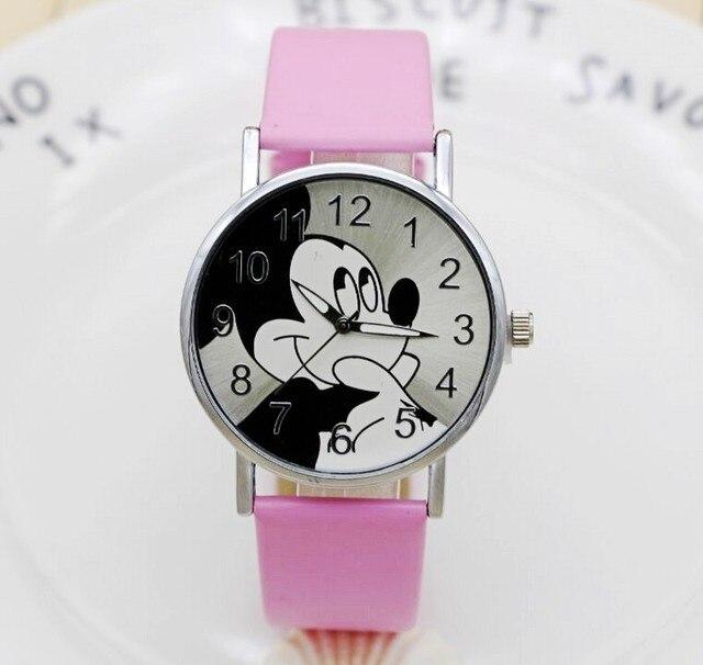 Del fumetto di Modo di mickey della vigilanza delle donne unisex del quarzo del Cuoio orologio da polso Per Bambini orologi Della Ragazza del Ragazzo Preferito regalo Relogio Feminino