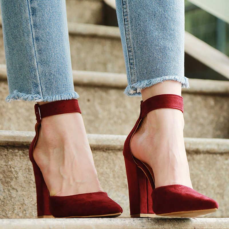 2020 seksi klasik yüksek topuklu kadın sandalet yaz ayakkabı bayanlar Strappy pompaları platformu topuklu kadın ayak bileği kayışı ayakkabı