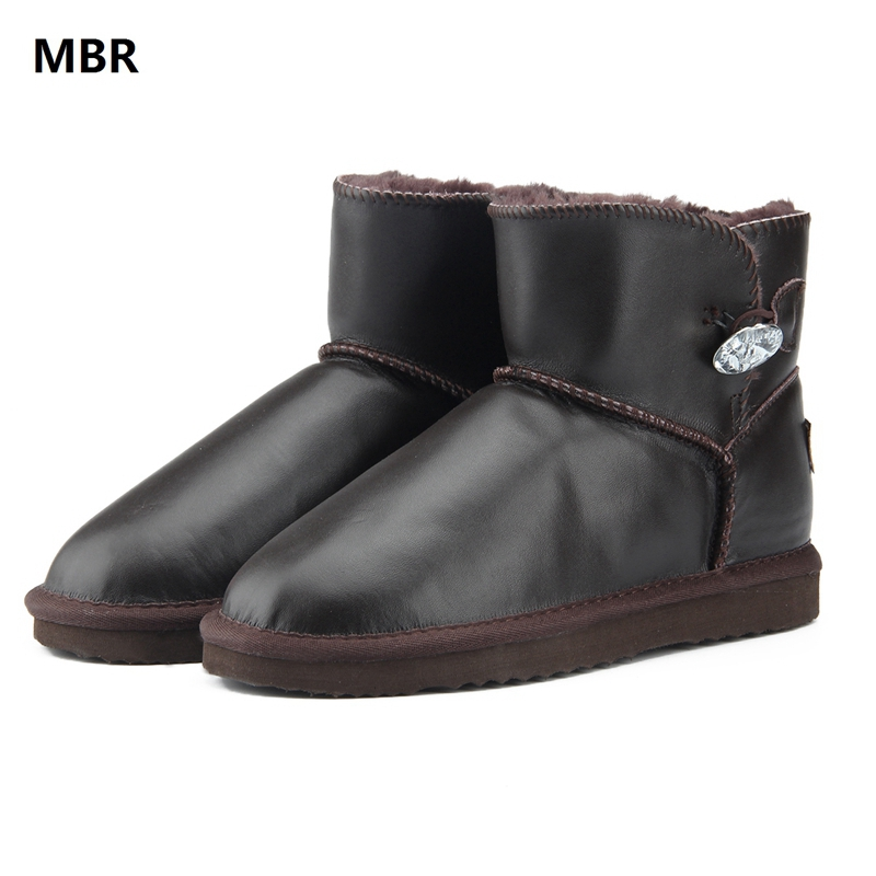 MBR Fashion Genuine Leather Women Snow Boots UG Winter Boots Warm Ankle Boots Waterproof Classic Warm Winter Shoes US 3.5-13 2015 winter new arrival australia classic warm boots genuine leather handmade rhinestones diamond 3d flower women snow boots