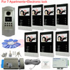 7v7 RFID Outdoor CCD Camera Color Video Door Phone Intercom System For 7 Apartments Electronic Control