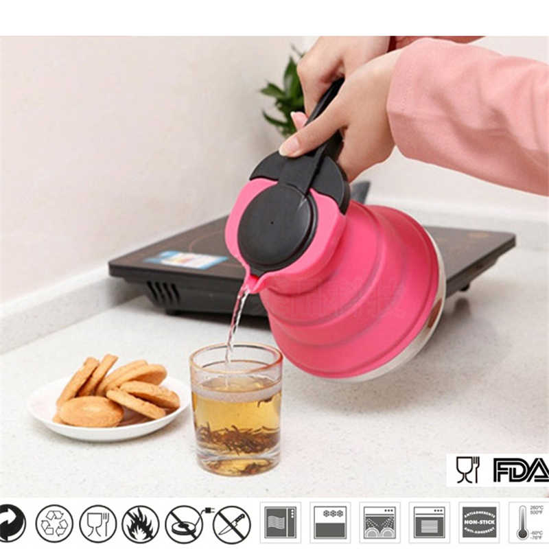 1.5L Silicone Water Kettle Collapsible Pot Folding Camping Travelling Hiking Kitchen Tools Tea Coffee Cookware
