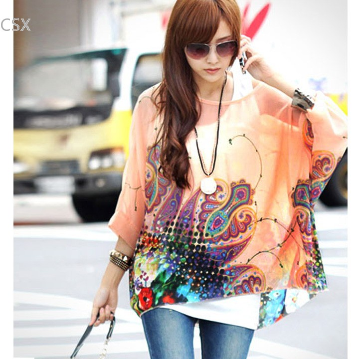 Women's Clothing Kind-Hearted Mwoiiowm Hottest Summer Women Batwing Sleeve Chiffon Blouses Casual Loose Floral Shirt Tops Oversized Multi-size Blusas 36