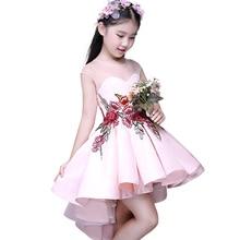 Nouveau Printemps D'été Sans Manches Filles Robes Princesse Brodé Fleur Robe pour les Filles Vêtements D'anniversaire De Noce 5-12yr