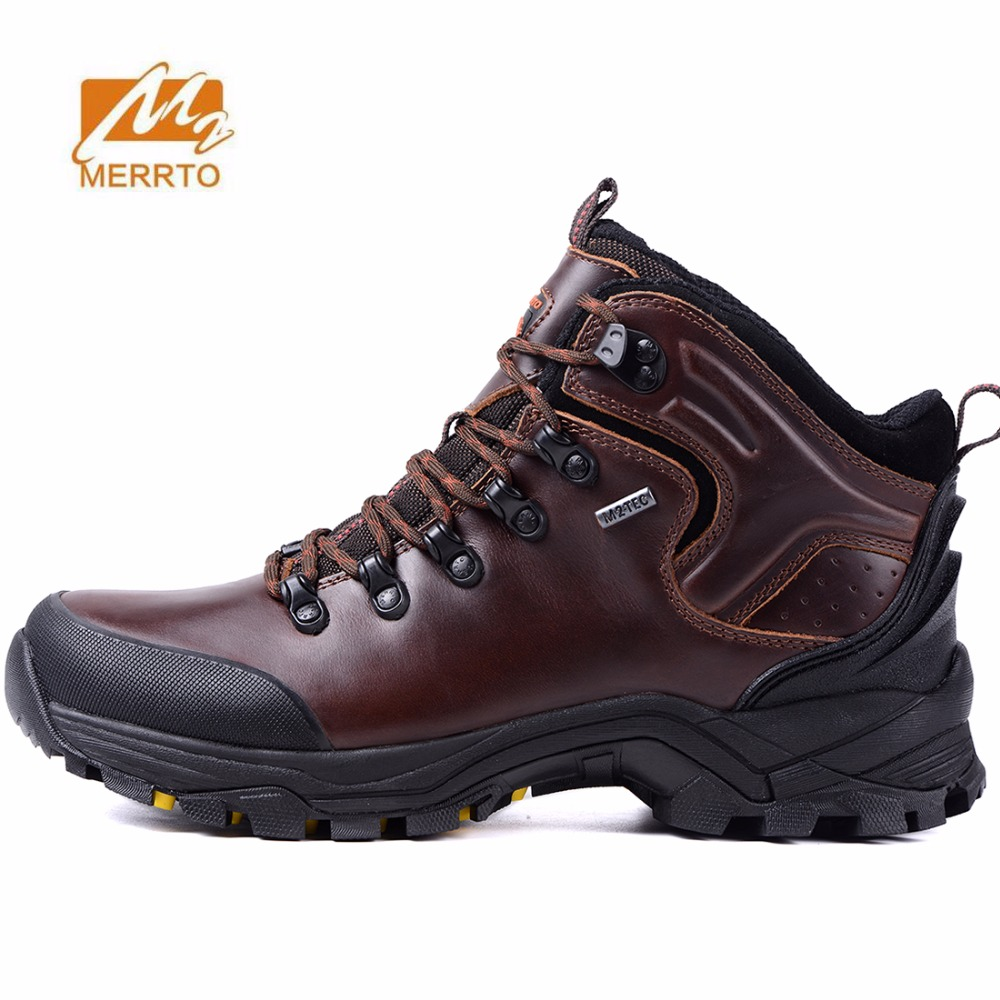 MERRTO Men's Outdoor Winter Hiking Trekking Boots Shoes Sneakers Footwear For Men Leather Climbing Mountain Snow Boots Shoes Man big size 46 men s winter sneakers plush ankle boots outdoor high top cotton boots hiking shoes men non slip work mountain shoes