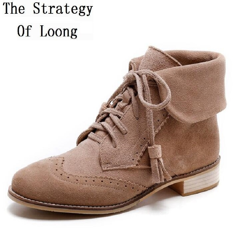 2017 New Arrival Spring Autumn Women Restore Lace Up Ankle Boots Genuine Leather Lace Up Short Boots Vintage Shoes 20171212 men suede genuine leather boots men vintage ankle boot shoes lace up casual spring autumn mens shoes 2017 new fashion