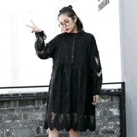OL Spring Shirt Dress For Women Vestido De Festa Petal Sleeve Big Size Clothing Black