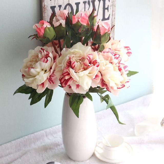 2 Heads Vivid Peony Big Flower Bouquet Artificial Flower Emperor ...