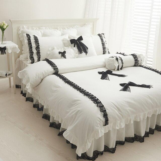 S & V luxe Mordern blanc ensembles de literie dentelle literie 3d