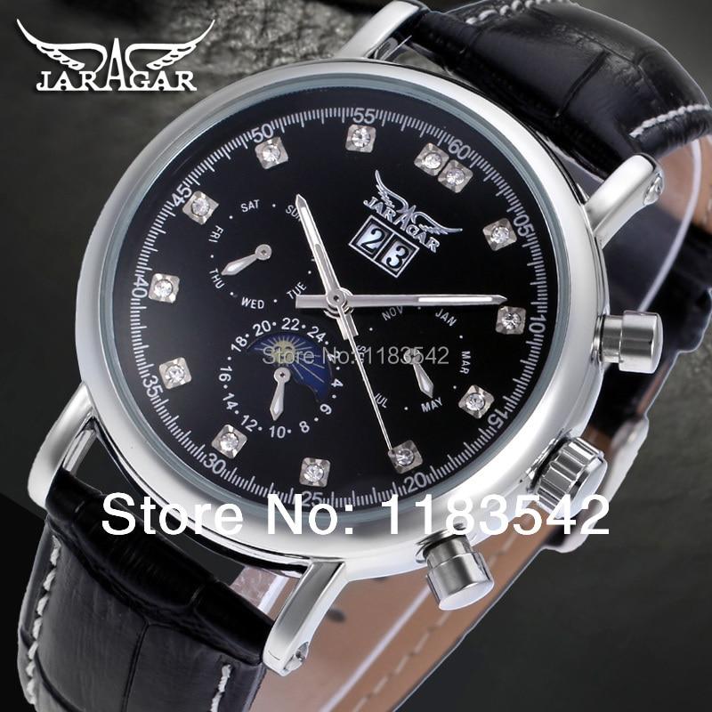 Jargar Automatic silver color men wristwatch tourbillon black leather strap hot selling shipping free JAG348M3S1 1 piece free shipping silver color