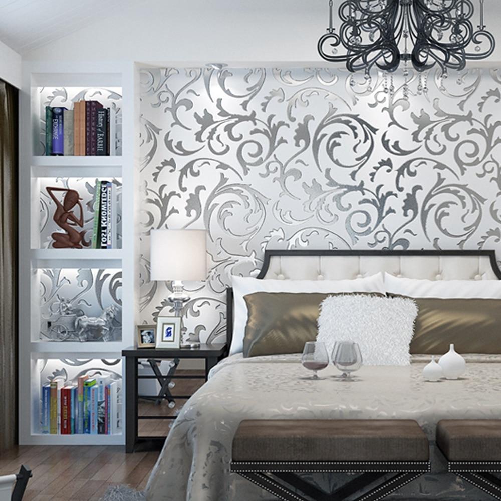 Grey 3d Victorian Damask Embossed Wallpaper Roll Luxury
