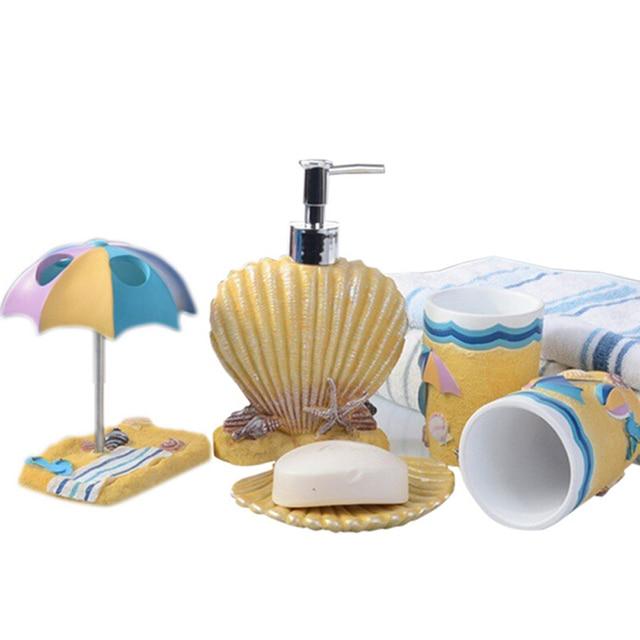 Lovely Beach Seashell Resin Bathroom Accessory Set Fashion 5pcs Bath