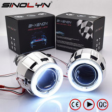 "Sinolyn COB LED Angel Eyes Bi Xenon Lens Projector Headlight For Car Retrofit DIY W/ Daytime Running Lights Feature 2.5"" H4 H7"