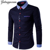 Plus Size 5XL Mens Shirt Dress Long Sleeve Striped Collar Casual All Match Male Business Tops