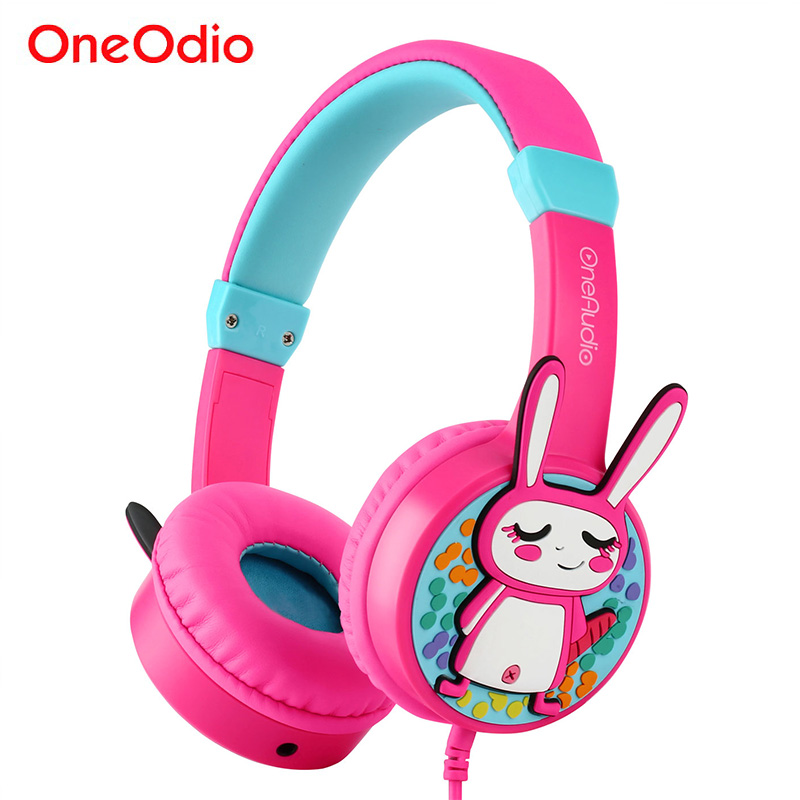 Oneodio Portable Kids Headphones Cute 3D Rabbit 85dB Safety Children Over Ear Headset With Adjustable Headband