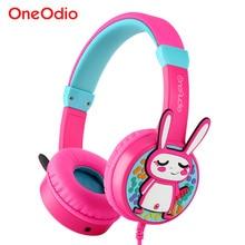 Oneodio Портативный дети симпатичные наушники 3D кролик 85dB безопасности детей Over-Ear гарнитура с регулируемым оголовьем подарки для девочек