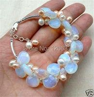 Beautiful Blue Fire Opal and Fresh Water Pearl Cluster Bracele bangle wholesale Cheap bracelets