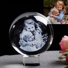 Персонализированный стеклянный фото шар заказной лазерный гравер стеклянный глобус домашний декор Хрустальная картина Сфера подарок на день рождения шар