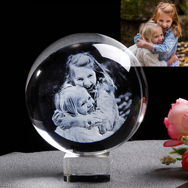 Personalized Glass Photo Ball Customized Laser Engraver Glass Globe Home Decor Crystal Picture Sphere Birthday Gift Ball