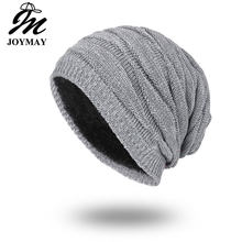 Joymay 2018 Winter Beanies Solid Color Hat Unisex Plain Warm Soft Skull Knitting Cap Hats Touca Gorro Caps For Men Women WM055(China)