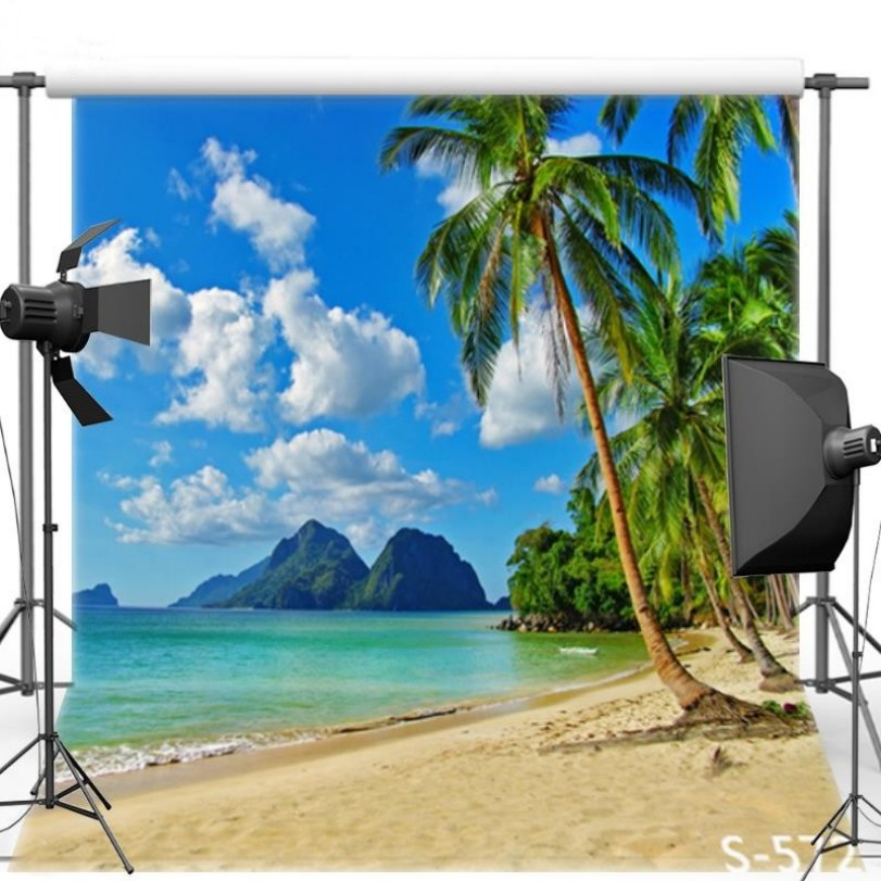 Sky Clouds Ocean Sandy Beach Palm Tree Wall Backgrounds Vinyl cloth High quality Computer print wedding backdrops