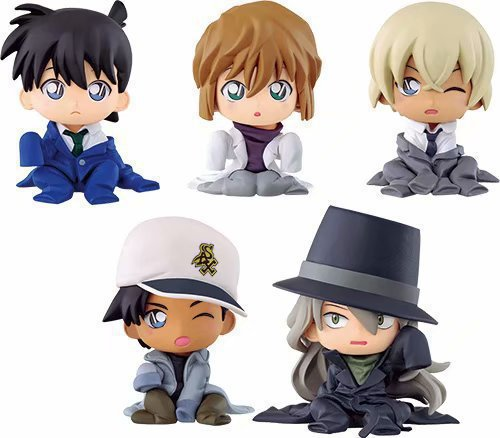 NEW hot 5cm 5pcs/set Detective Conan Case Closed Gin Furuya Rei Haibara Ai Nendoroid Mini Action figure toys doll collection