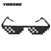 YOOSKE New Deal with it Glasses Men Thug Life Glasses Pixel Women Man Sunglasses Black Mosaic Sun Glasses(China)