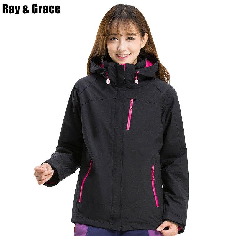 RAY GRACE Women Hiking Jacket Thermal Autumn Winter Windproof Waterproof Outdoor Sports Climbing Trekking Men Jackets
