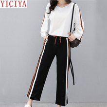 YICIYA sweatsuits for women set 2 piece tracksuits outfits pant and top co-ord striped winter autumn whiter 2019 clothes