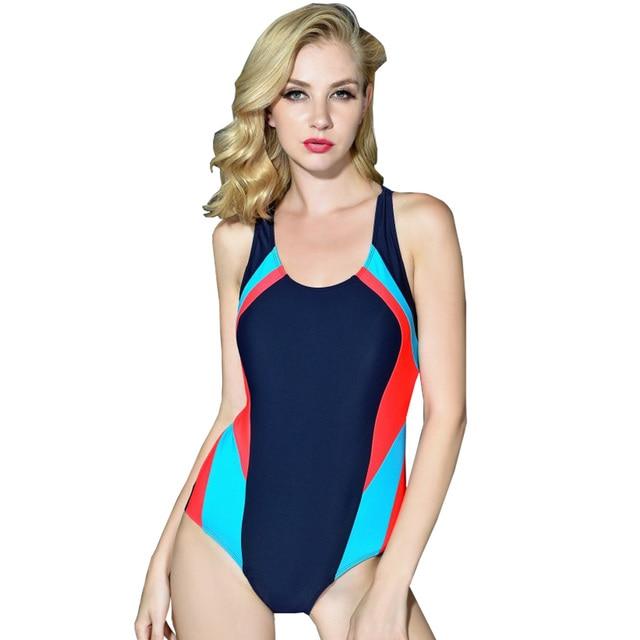 Lange Badpak.Geometricl Gedrukt Vrouwen Bodysuit Sport Afslanken Een Stuk Badpak