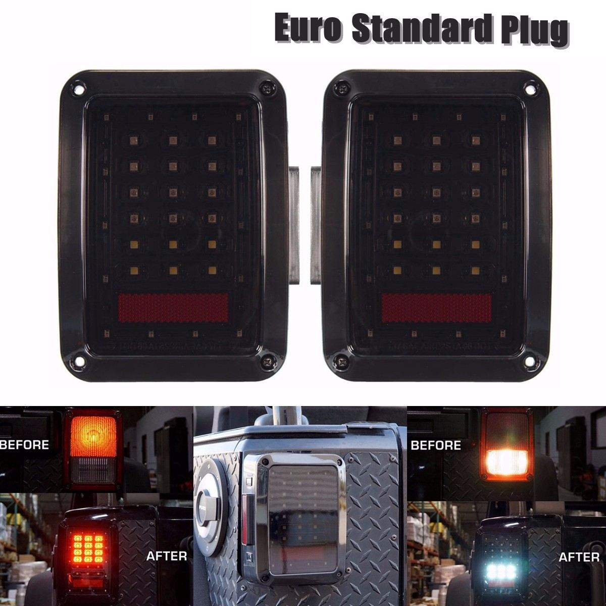 #682858528297 12V Smoked LED Tail Lights Driving Brake Reversing Lamp Turn Signal For Jeep/Wrangler JK 2012 2013 2014 2015 2016 windshield pillar mount grab handles for jeep wrangler jk and jku unlimited solid mount grab textured steel bar front fits jeep