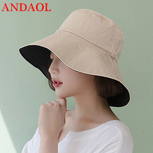 ANDAOL Summer Casual Cap Solid Double Sided Large Brim Cotton Beach Sun Hat Fashion Simple Travel Celebrations Fisherman Hats