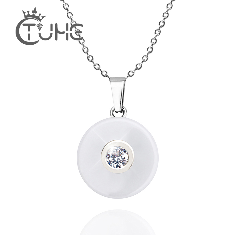 Real Ceramic Cubic Zirconia Chain Necklaces & Pendants White Color Fashion Crystal Ceramic Necklace Wedding Jewelry For Women(China)