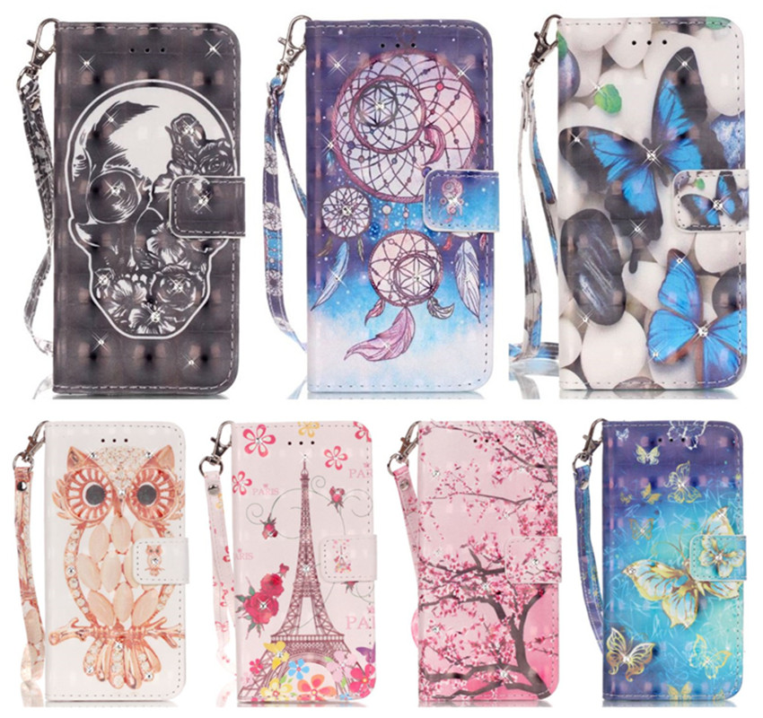DEEVOLPO 3D Covers For Apple iPhone 8 7 Plus 5 5S SE 6S Pattern Bags For Touch 6 Rhinestone PU Leather Retro Phone Cases DP30