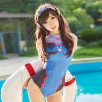 D VA Cosplay Costume One Piece Swimwear Swimsuit SUKUMIZU Halloween Costumes Cosplay Swimsuits