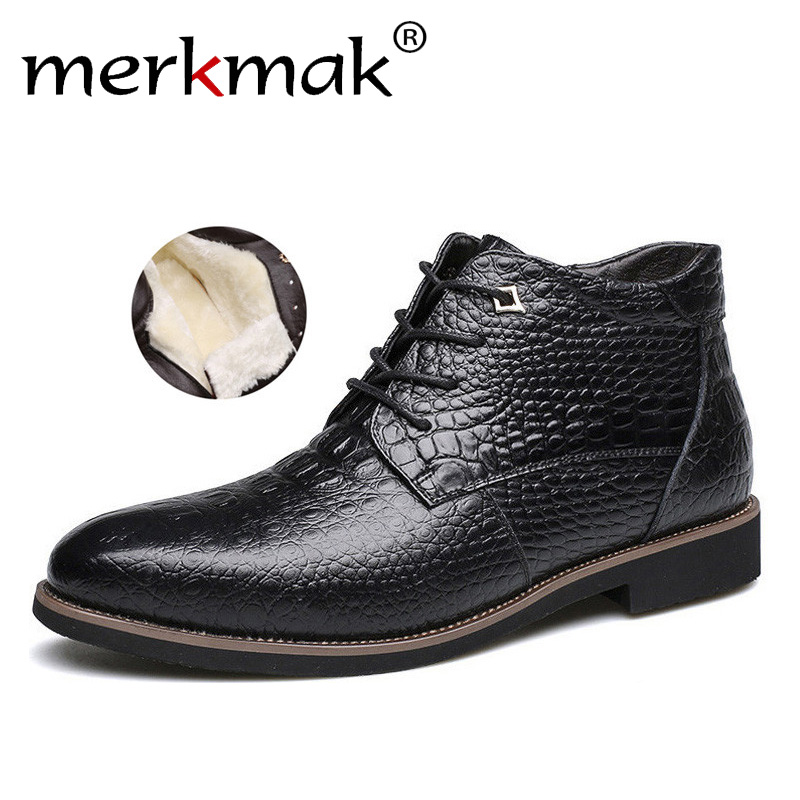 Merkmak Brand Men Winter Boots Warm Thicken Fur Men's Ankle Boots Fashion Male Business Office Formal Leather Shoes