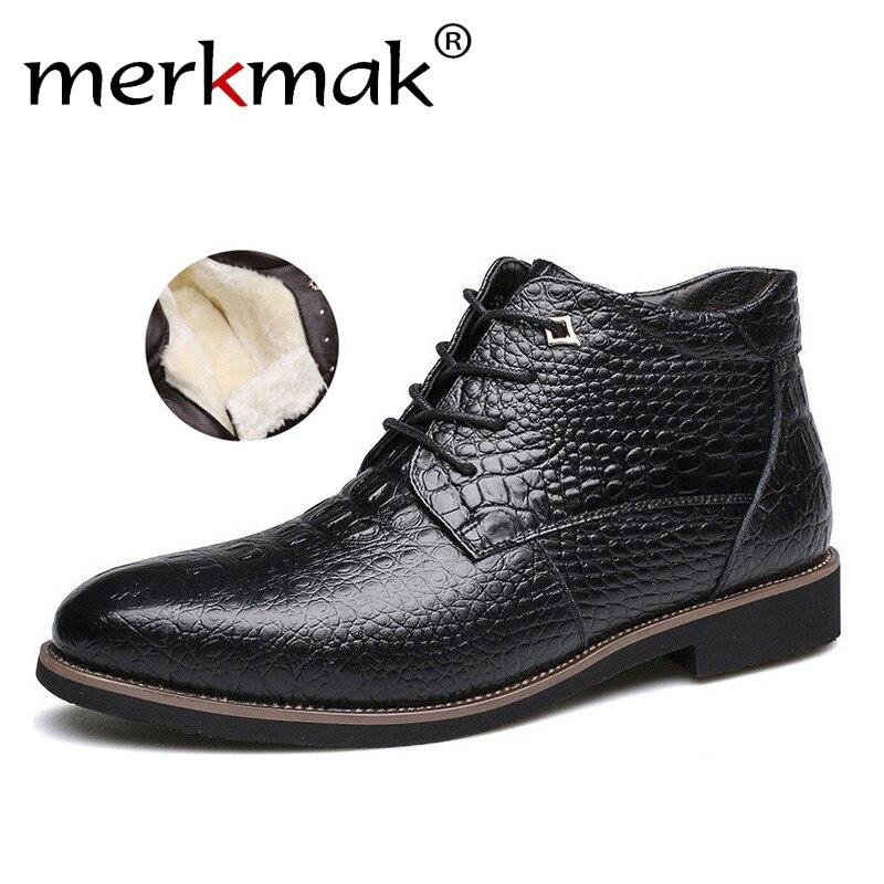 Merkmak Luxus Marke Männer Winter Stiefel Warm Verdicken Pelz Männer Stiefeletten Mode Männlichen Business Büro Formalen Leder Schuhe