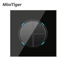 Minitiger 4 Gang 1 Manier Willekeurige Klik Op/Off Muur Lichtschakelaar Met LED Indicator Knight Black Crystal Gehard glas Panel(China)