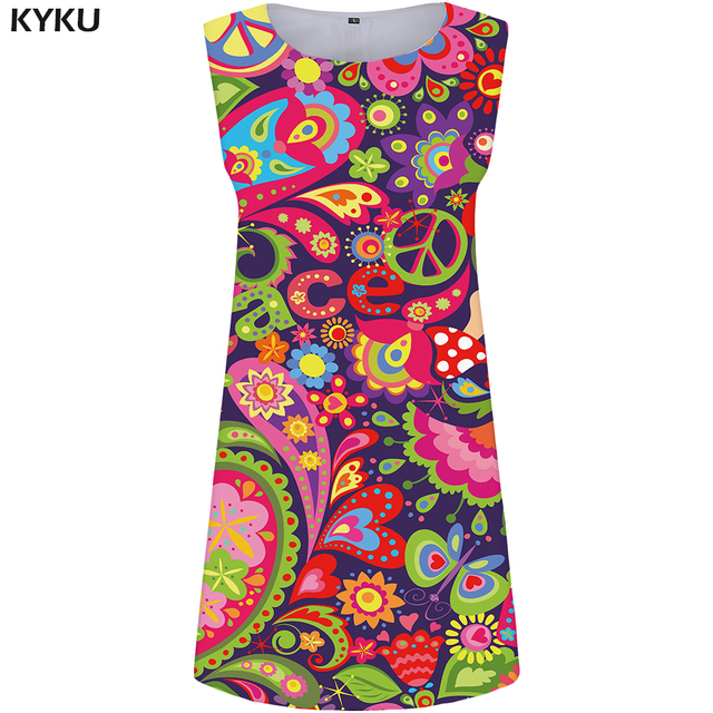 KYKU Brand Graphics Dress Women Peace Sundress Colorful Korean Style Flower Party Cartoon Vestido Sexy Boho Womens Clothing
