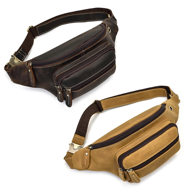 NoEnName_Null haute qualité couche cuir de vachette Durable hommes militaire tactique Fanny taille Pack ceinture Hip Bum sac de course pochette