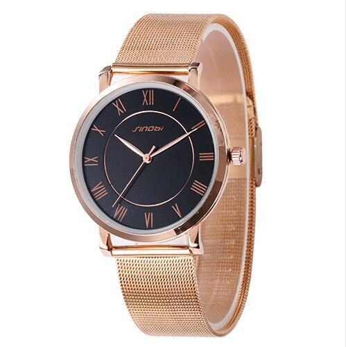 SINOBI Top Brand reloj de Los Amantes de Oro Rosa Reloj de Las Mujeres Reloj de Los Hombres de Acero completo Reloj de Cuarzo Unisex Horas montre femme montre homme reloj