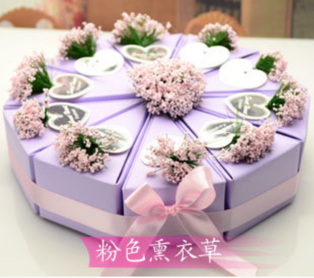 50pcs 5 Cakes Purple Pink Cake Style Lavender Flower Decoration Wedding Favors Candy Bo Chocolate Gifts Box Oniera In Gift Bags Wring