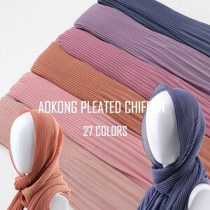 Image 2 - Een Stuk Vrouwen Wraps Lange Sjaals Moslim Crinkle Ruche Hijaabs Solid Plain Geplooide Chiffon Hijab Sjaal