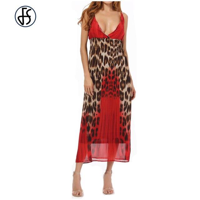 c4b58fffff FS Women Plus Size 4XL Fashion Chiffon Leopard Print Maxi Dress Long Casual  Summer Beach Style Party Dresses Cheap Sundresses