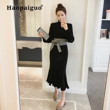 2019 Spring Knitted Sweater Black Dress Women High Elastic Long Wrap Solid Elegant Midi for Ladies Vestidos