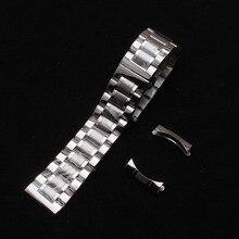 Correa de reloj de acero 14 15 16 17 18 19 20 21 22 24 mm Metal pulido cepillado correas de reloj pulseras con extremos curvados gratis Plata nuevo