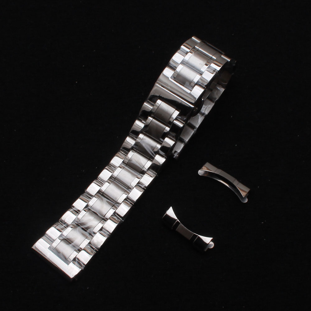 Steel Watchband 14 15 16 17 18 19 20 21 22 24 mm Metal Polished Brushed Watch Straps bracelets with free curved ends silver new|Watchbands| |  - title=