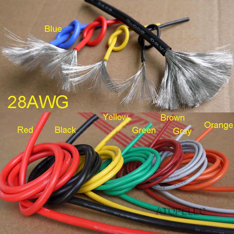 28AWG 1.2 millimetri di Diametro Flessibile Filo di Silicone Morbido RC Cavo di Rame UL Nero/Marrone/Rosso/Arancio/ giallo/Verde/Blu/Viola/Grigio/Bianco